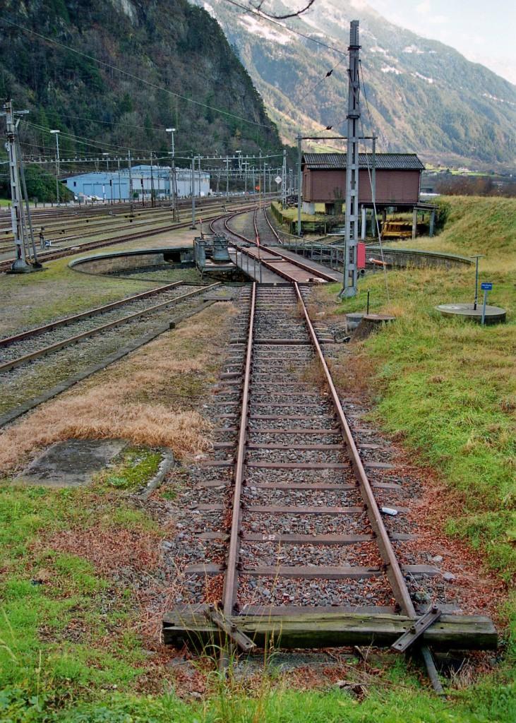 Motor getriebene Drehscheibe Depot Erstfeld wird heute noch genutzt.